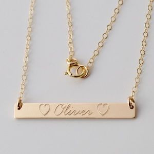 Jewelry - 14K Gold-Filled Personalized Engraved Bar Necklace